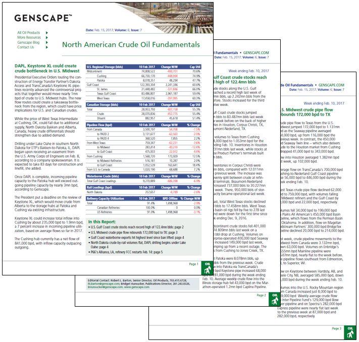 Genscape's Crude Oil Fundamentals Sample Report
