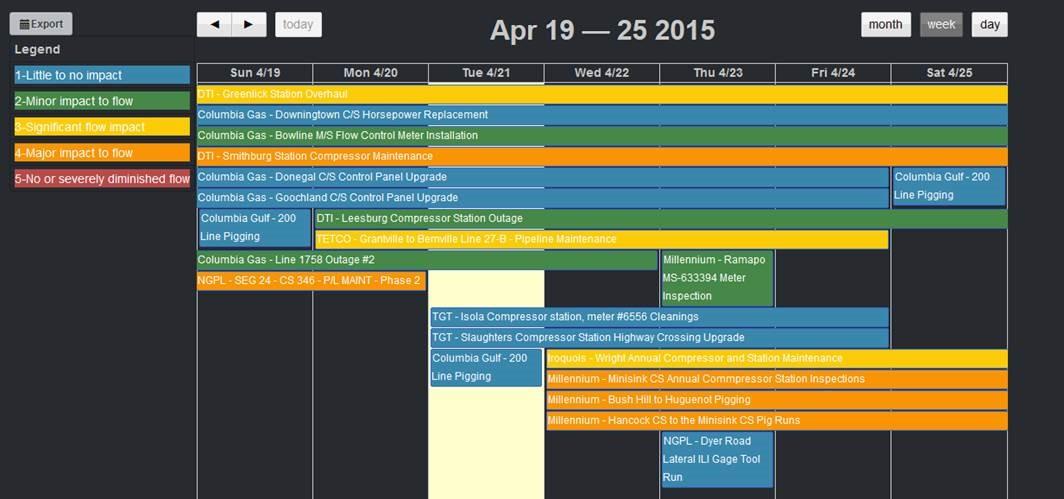 natgas notices and maintenances notices calendar