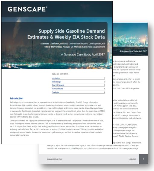 Genscape Supply Side Gasoline Demand Estimates and Weekly EIA Stock Data