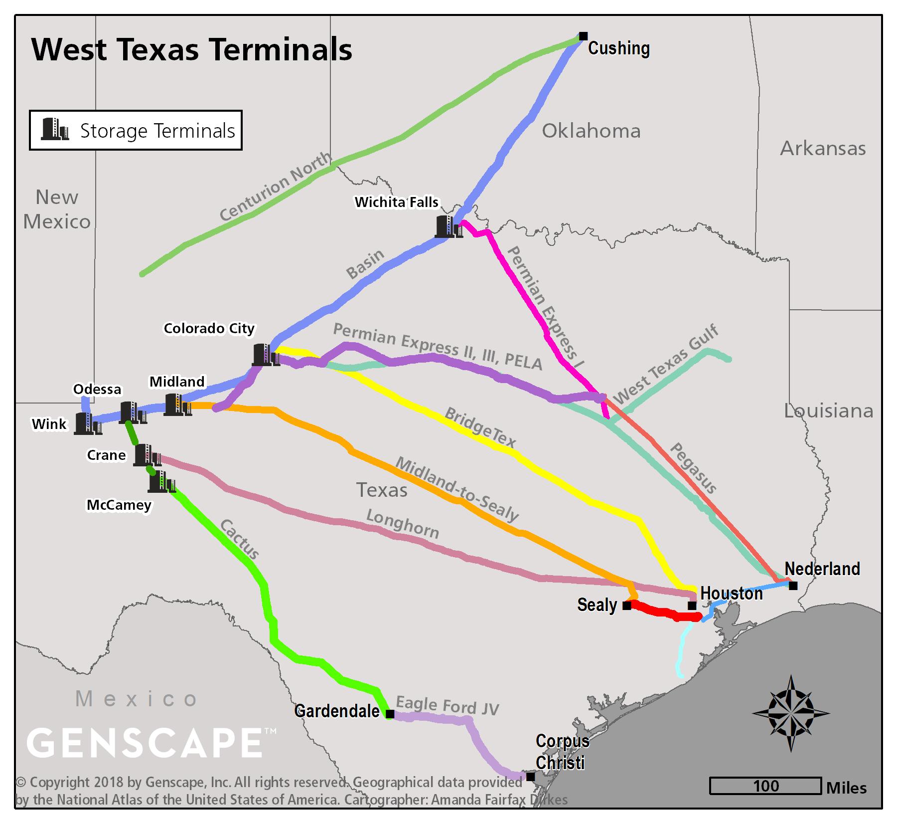 West Texas crude oil storage map