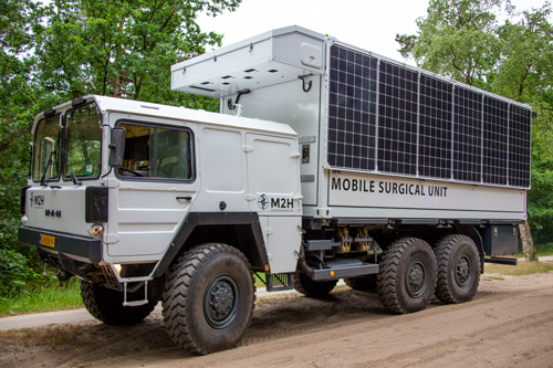 Mobile surgery unit 2 is a big truck with solar panels on the side