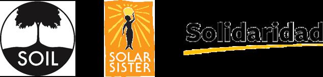 logos for Soil, Solar Sister, and Solifaridad