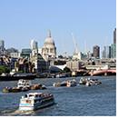 London skyline behind the Thames
