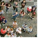 Image of a group of people from above