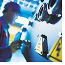 Engineer inspecting equipment