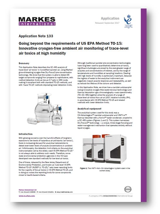 EPA TO15 application note - air analysis from canisters