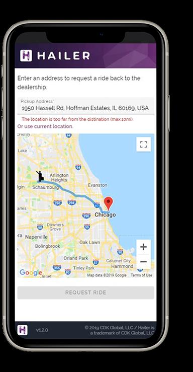 Mobile device screenshot of Hailer