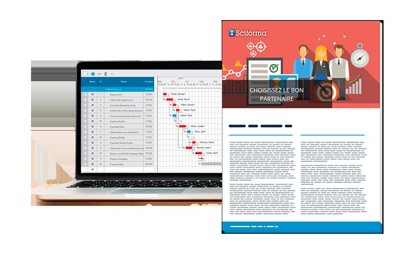 Ecran d'ordinateur portable montrant le logiciel ppm Sciforma et le guide d'achat sur la sélection d'un outil PPM à droite