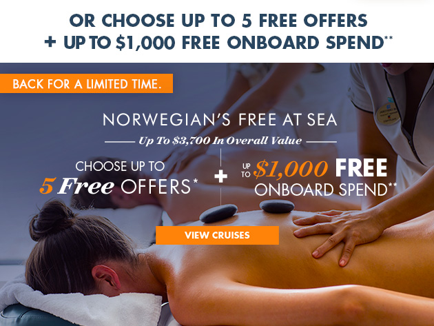 Free At Sea+ Up to $1000 OBC
