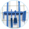 Image of blue wall bracket and tools