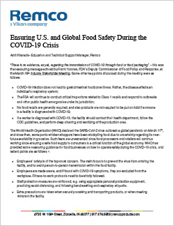 Remco COVID global food safety document
