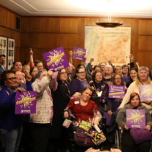 Care power activists at the Oregon State Legislature