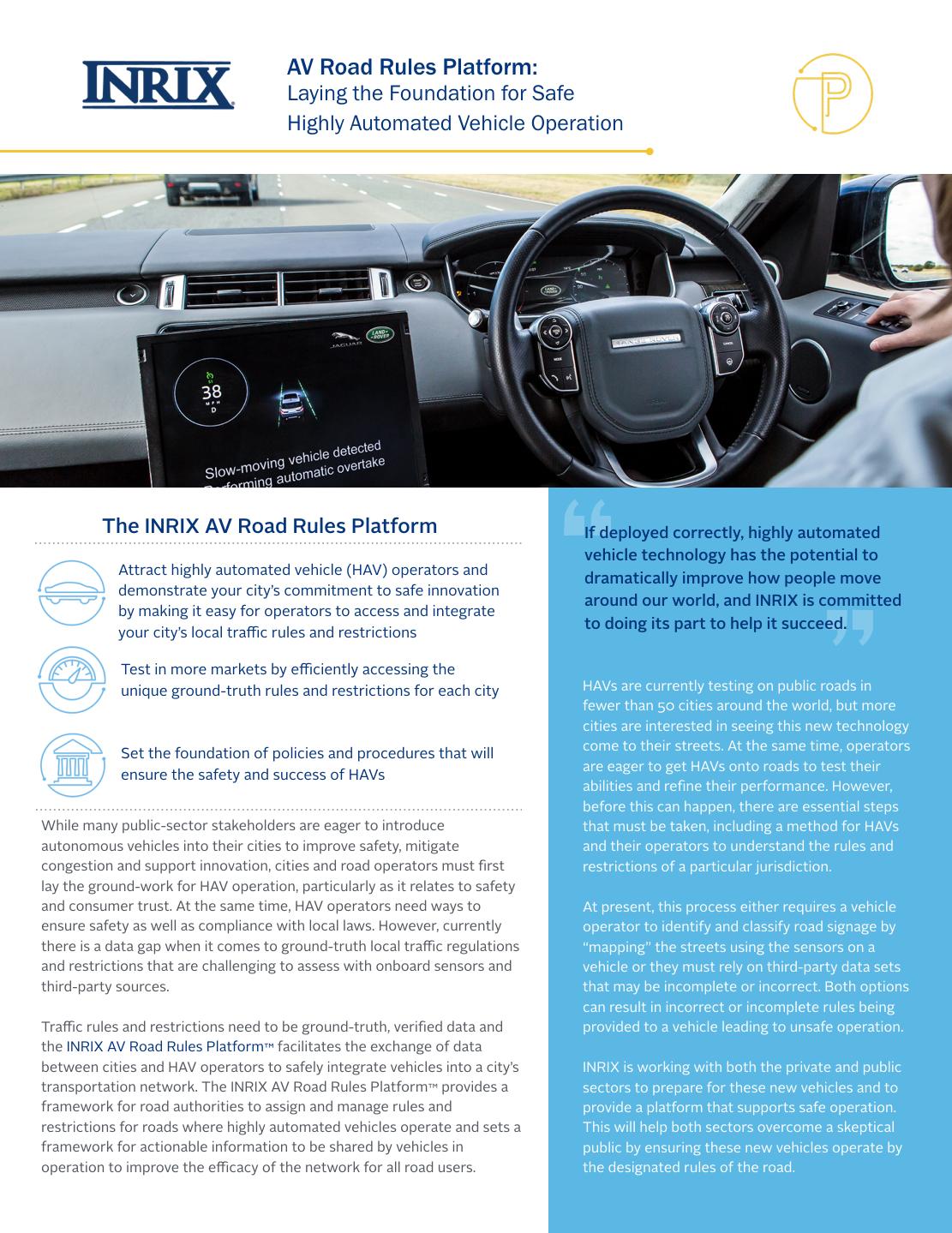 INRIX AV Road Rules Brochure