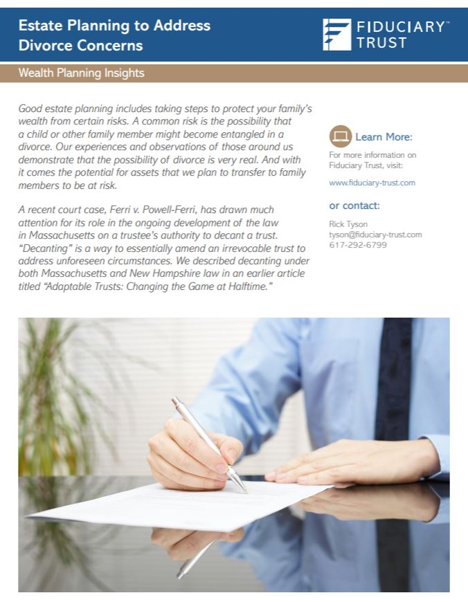 Download Fiduciary Trust's Estate Planning for Divorce Article