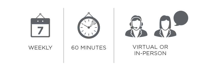 Weekly, Approx. 60 minutes, Virtual or In-Person