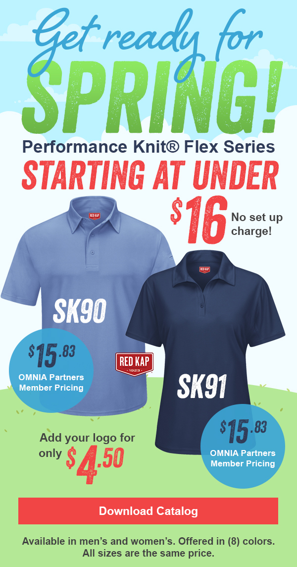Polos starting at under $16.00. Add embroidery for only $4.50. Eight colors to choose from.