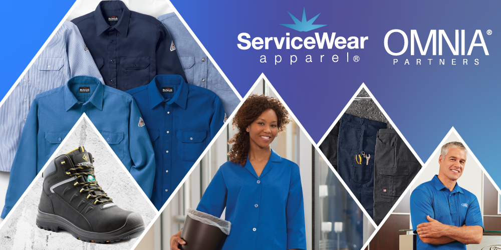 Streamlined Government Workwear Procurement ServiceWear Apparel distributes high-quality workwear and work apparel from leading brands to fulfill the needs of public agencies. Our broad range of brands and products allows you to find the perfect garments for your government workwear program.  ServiceWear Apparel is the premier supplier partner of workwear and work apparel to the OMNIA Partners Government Purchasing Alliance. Our partnership with OMNIA Partners allows you to piggyback off of a competitively awarded contract, reducing administrative time and costs. Click here to learn more about our partnership with OMNIA Partners, and see how you can receive exclusive benefits from ServiceWear Apparel as a participant.