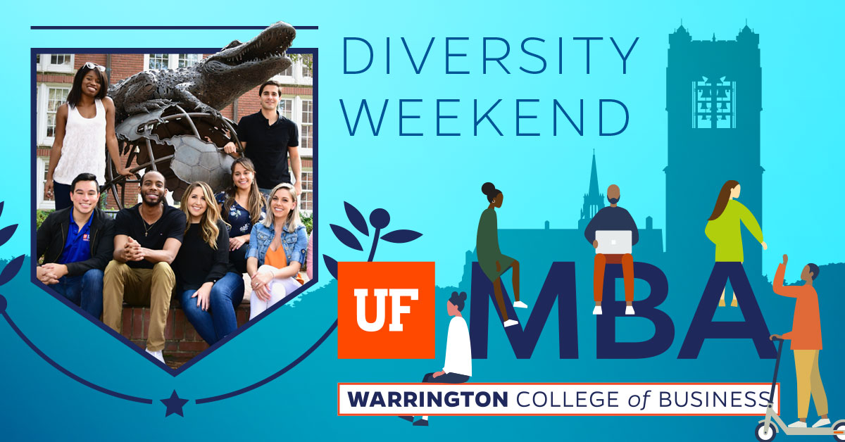 A group of UF MBA students alongside an illustration of students on UF's campus. Text reads Diversity Weekend.