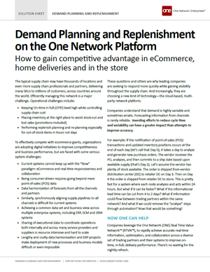 Demand Planning and Replenishment on One Network