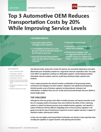 Top Automotive OEM Cuts Transportation Costs and Boosts Service Levels