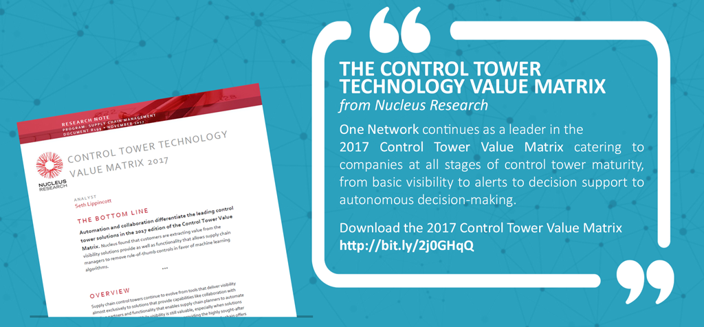 Control Tower Technology Value Matrix 2017 - Nucleus Research