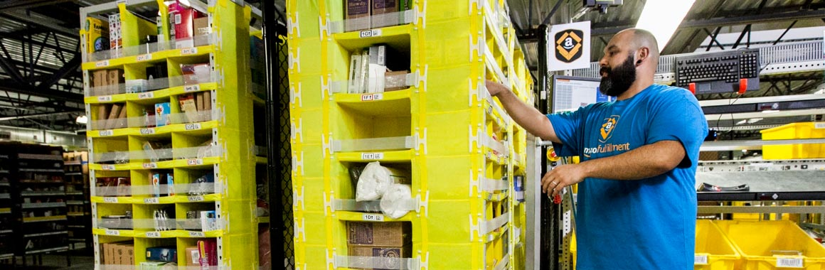 Image of product bin in fulfillment center.