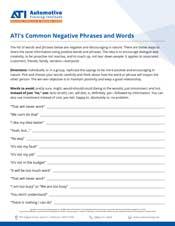 ATI's Common Negative Words and Phrases