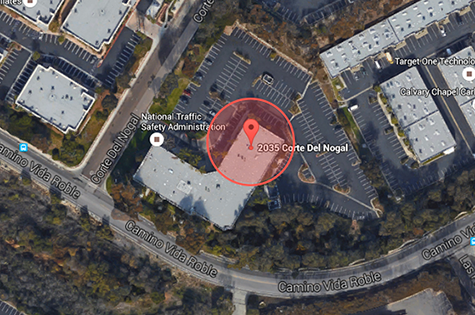 Overhead map view of building location