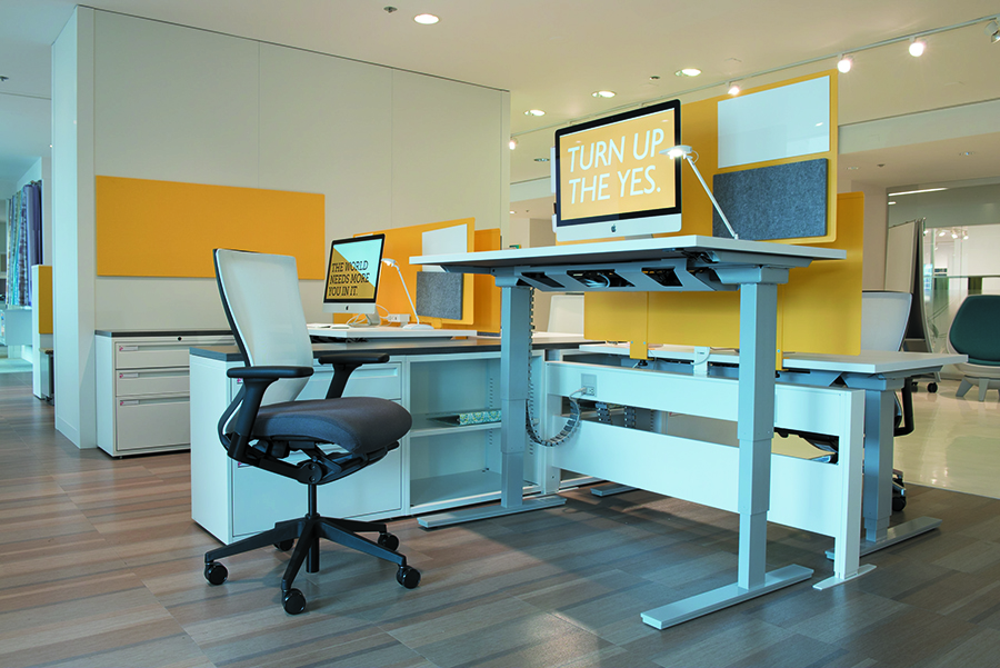 8. Incorporate height-adjustable worksurfaces