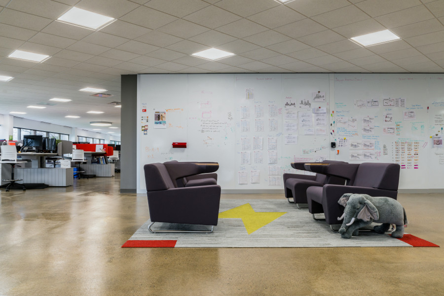 Lounge area with white boards