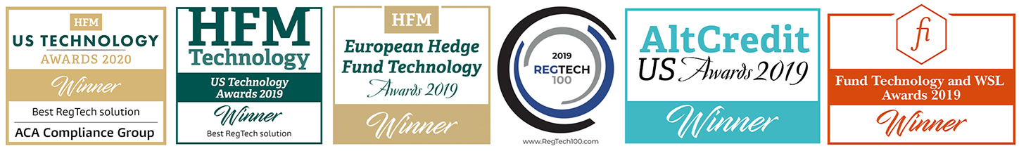 ACA Compliance Group regtech awards logos