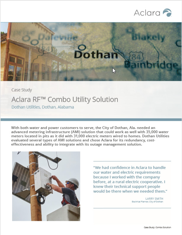 First page of the case study with images of Dothan on a map and a technician at an electric pole