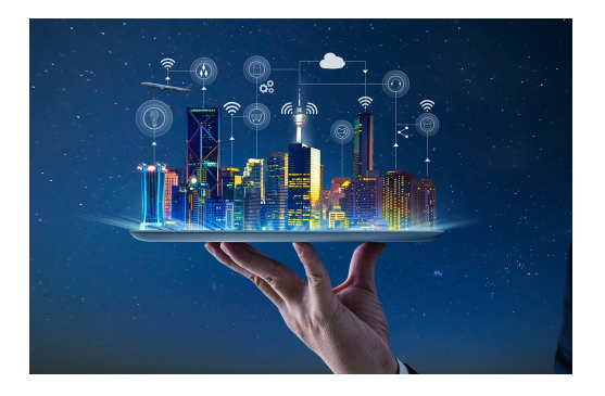 Hand holding a tablet with IoT graphics