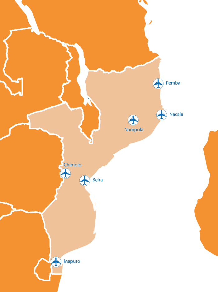 Mozambique flooding and airports map
