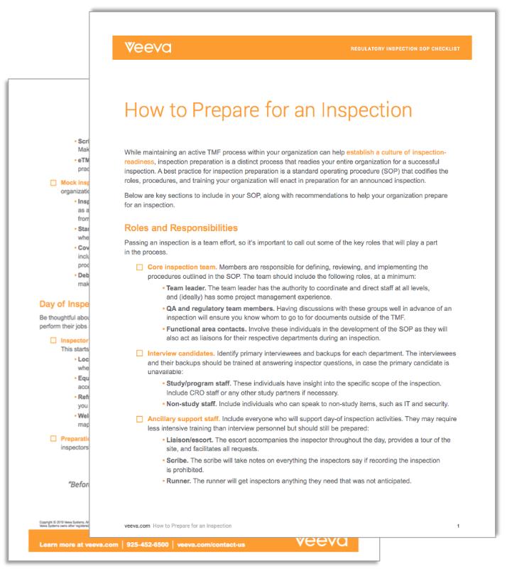 Veeva Regulatory Inspection SOP Checklist Thumbnail