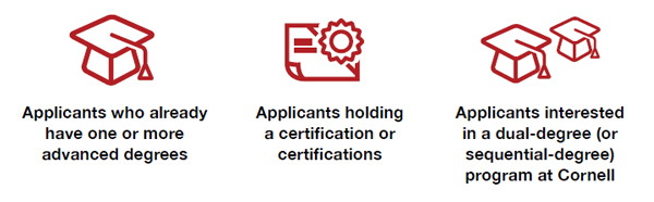 Applicants who already have one or more advanced degrees. Applicants holding a certification or certifications. Applicants interested in a dual-degree