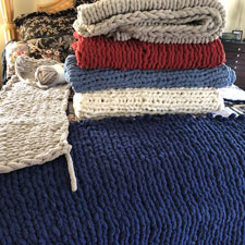 Linda Frank's knitted blankets