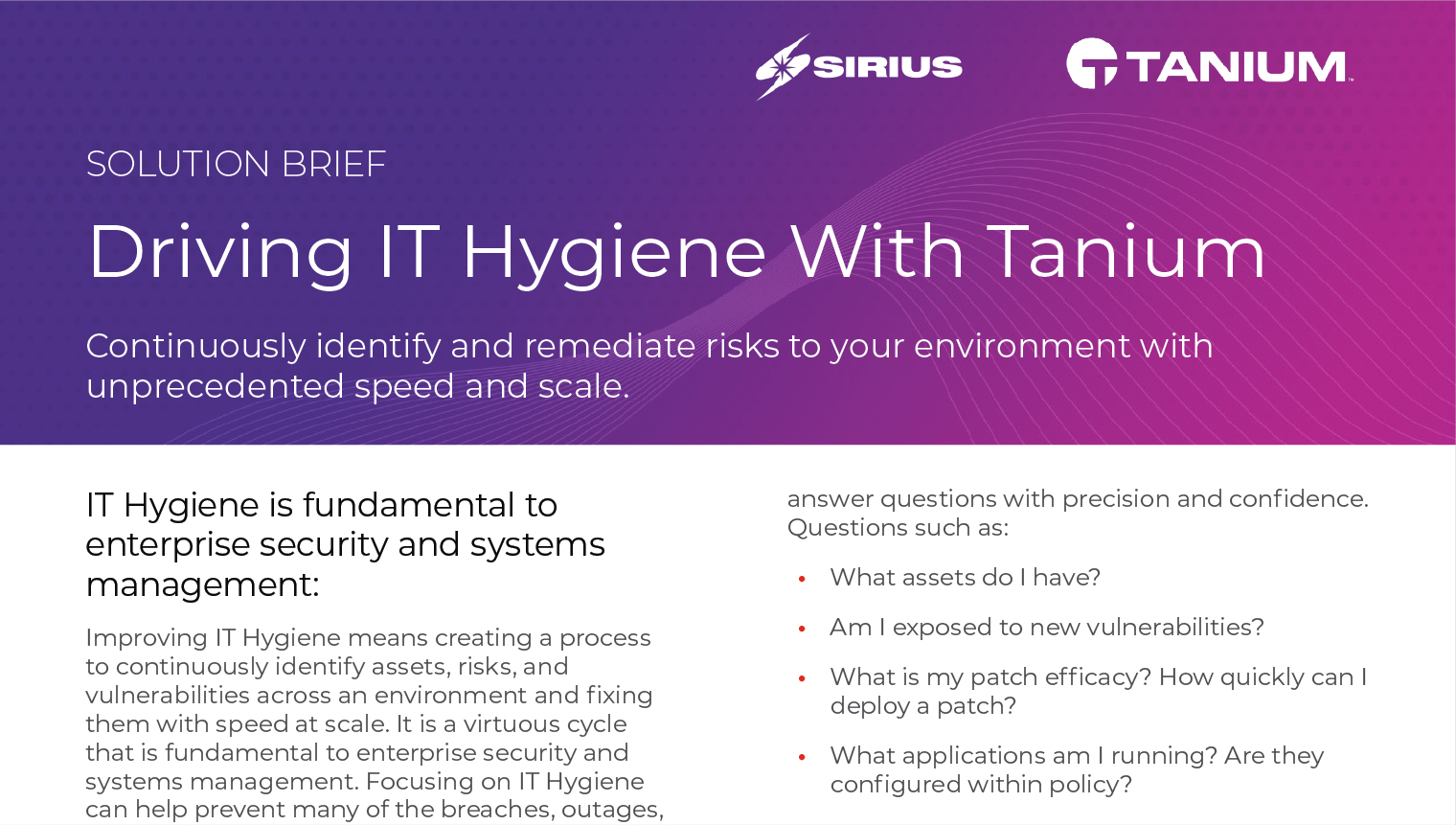 Solution Brief: Driving IT Hygiene With Tanium