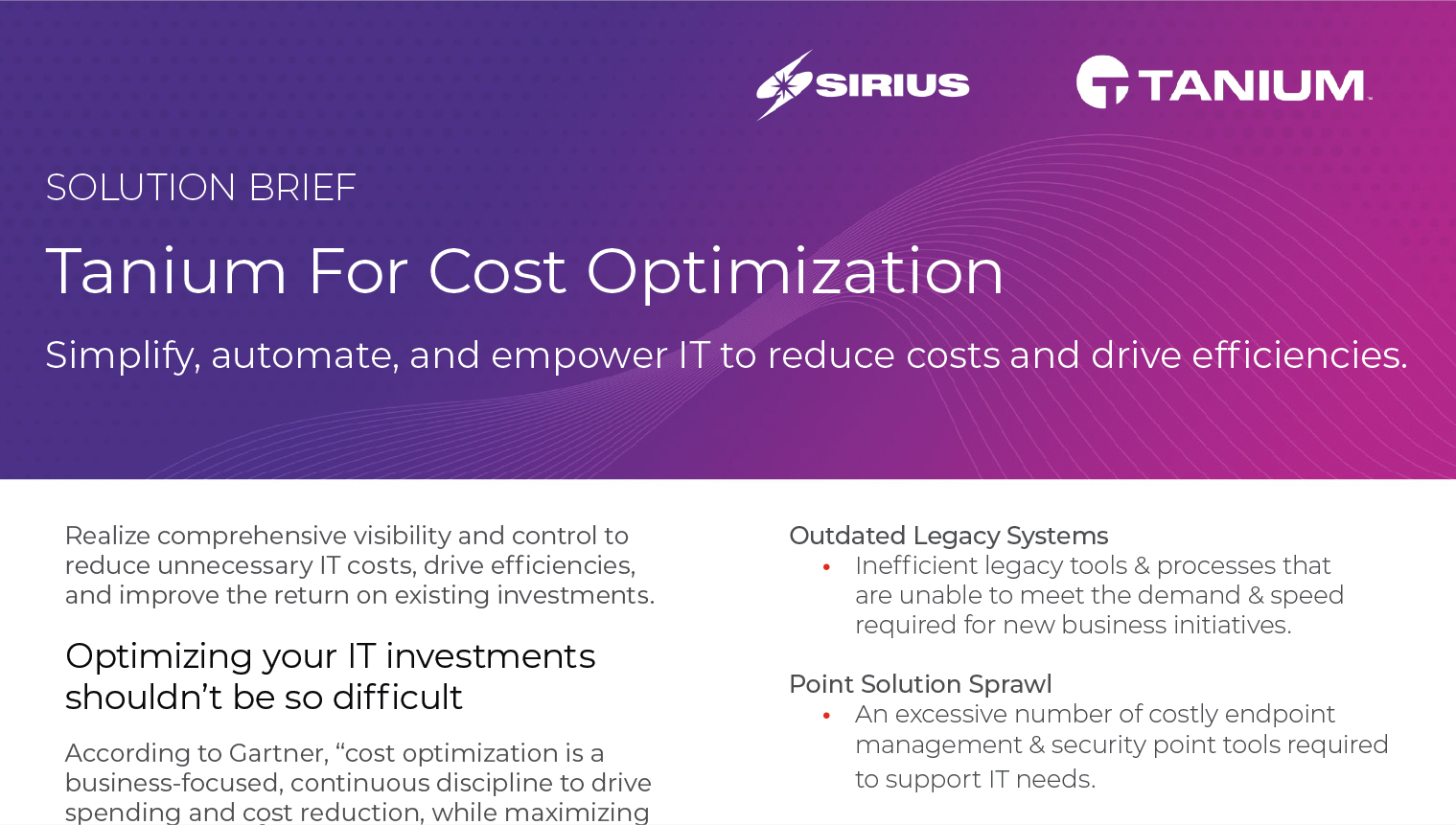 Solution Brief: Tanium For Cost Optimization