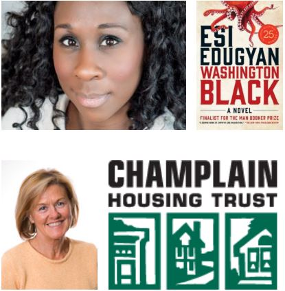 Images of Esi Edugyan, a Black woman, with the cover of her novel Washington Black, and Brenda Torpy, a white woman, with the logo of the Champlain Housing Trust.