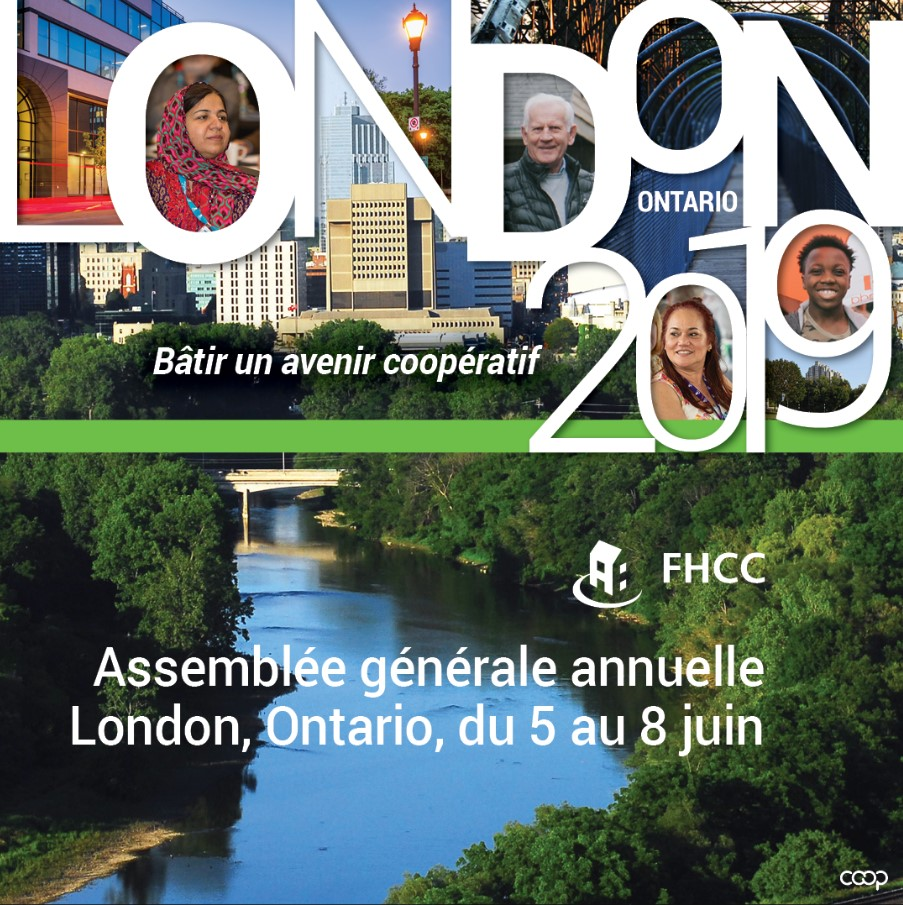 A graphic showing the city of London, co-op members, and the text London 2019: Batir un avenir cooperatif