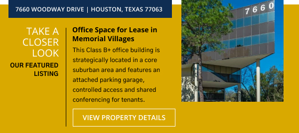 Subject Office Space for Lease in Memorial Villages | 7660 Woodway Drive, Houston, Texas 77063