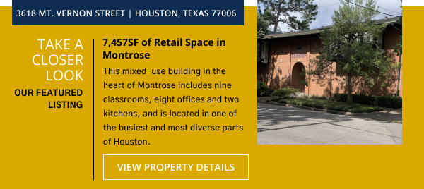 7,457SF of Retail Space in Montrose | 3618 Mt. Vernon St. Houston, TX 77006
