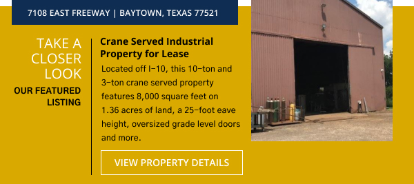 Crane Served Industrial Property for Lease  | 7108 East Freeway | Baytown, Texas 77521