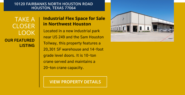 Take a Closer Look | Belvoir Featured Listing   Industrial Flex Space for Sale in Northwest Houston | 10120 Fairbanks North Houston Road, Houston, Texas 77064