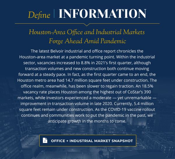 Houston-Area Office and Industrial Markets Forge Ahead Amid Pandemic