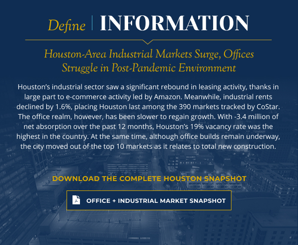 Houston-Area Industrial Markets Surge, Offices Struggle in Post-Pandemic Environment