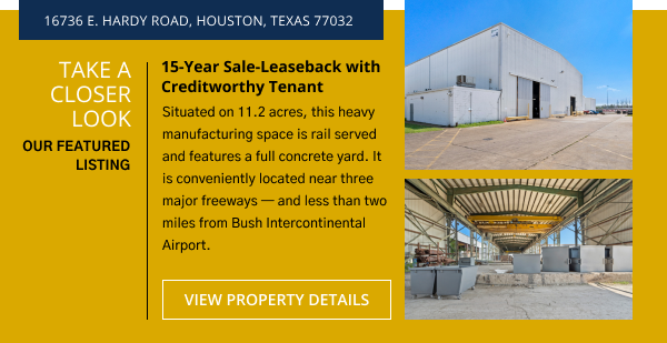 Take a Closer Look | Belvoir Featured Listing - 15-Year Sale-Leaseback with Creditworthy Tenant | 16736 E. Hardy Road, Houston, Texas 77032