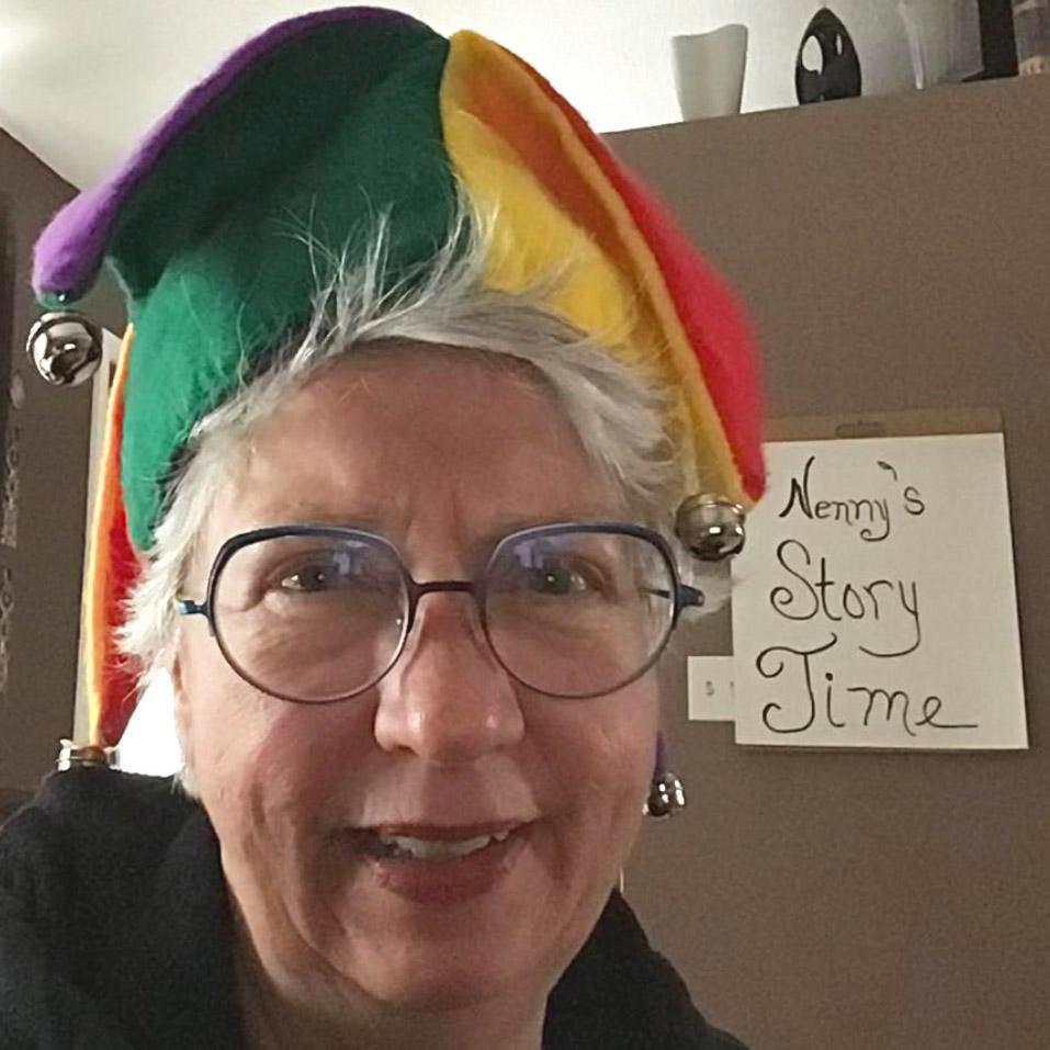 woman in jester hat