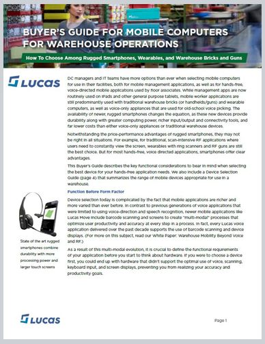 Buyer's Guide for mobile devices for warehouse applications cover